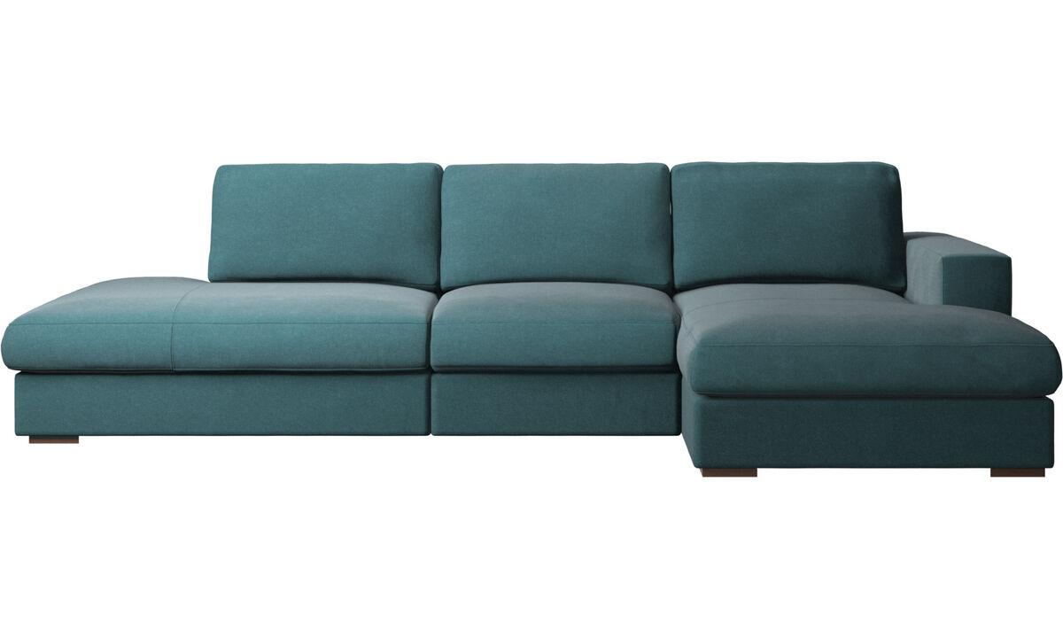 3 seater sofas - Cenova divano con lounge e penisola - Blu - Tessuto