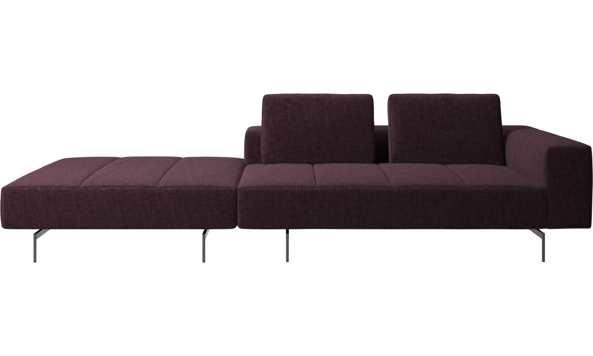 3 seater sofas - Amsterdam sofa with footstool on left side - Red - Fabric