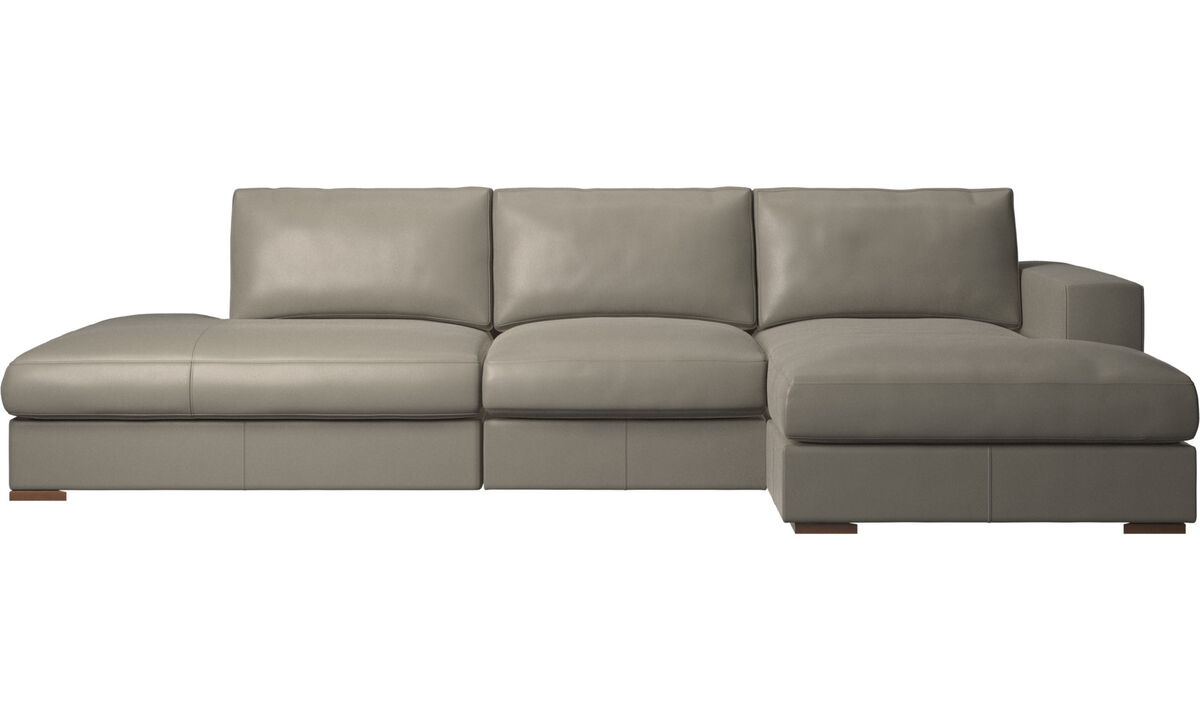 3 seater sofas - Cenova sofa with lounging and resting unit - Grey - Leather