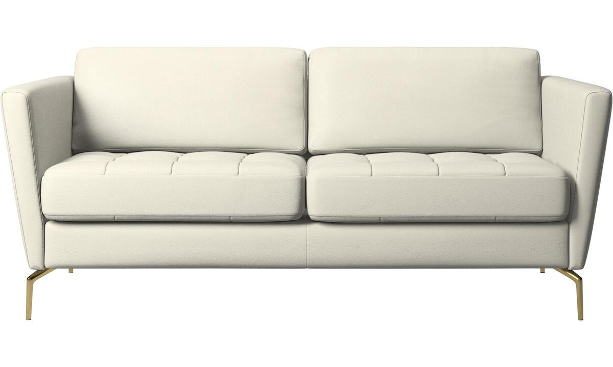 2 seater sofas - Osaka sofa, tufted seat - Beige - Leather