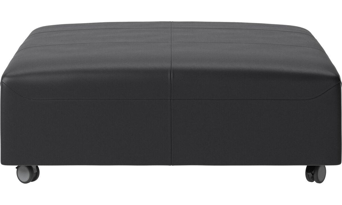 Footstools - Hampton footstool on wheels - Black - Leather