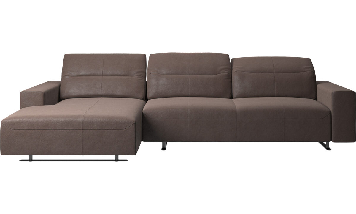 Chaise longue sofas - Hampton sofa with adjustable back, resting unit and storage left side - Brown - Leather