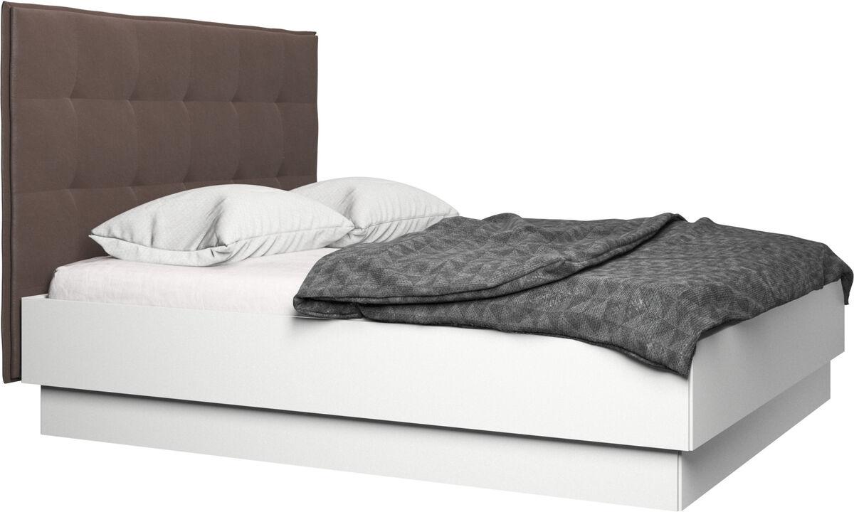 Neue Betten - Lugano Bett mit Lattenrost und Staufach unter hochklappbarer Liegefläche, Matratze gegen Aufpreis - Braun - Leder