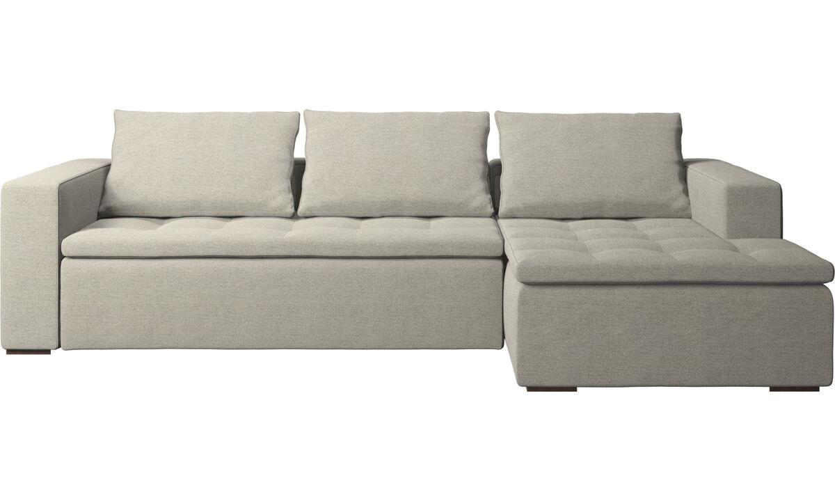 Sofás con chaise longue - sofá Mezzo con módulo chaise-longue - En beige - Tela