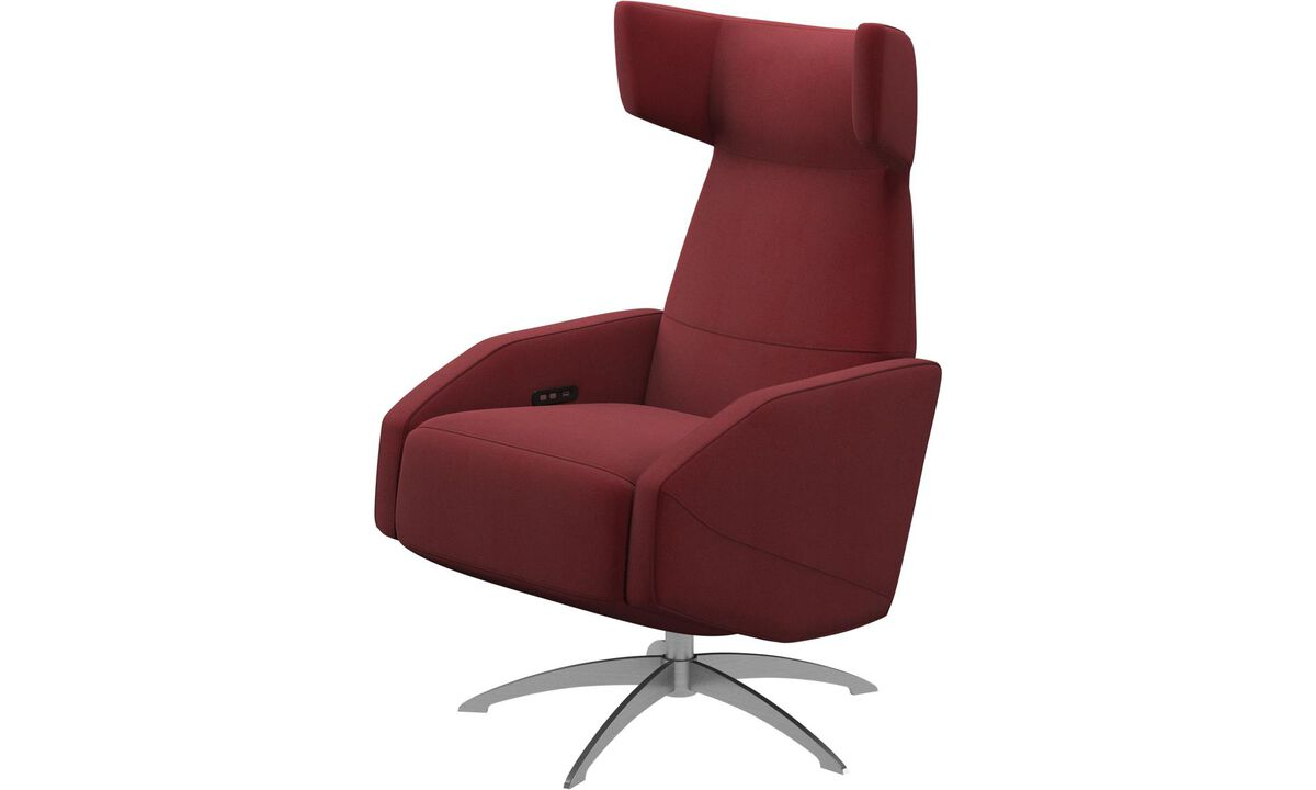 Armchairs - Harvard recliner with battery function, also available with manual/electrical recliner function - Red - Fabric
