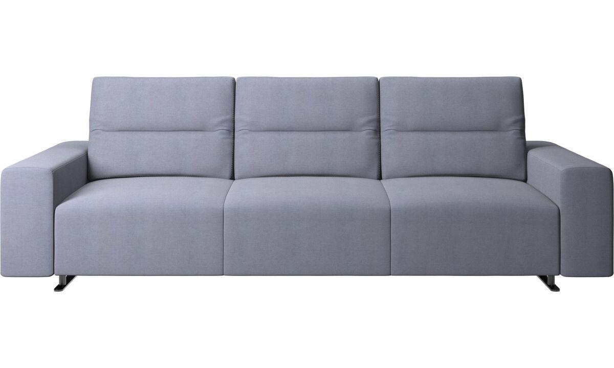 Sofás de 3 plazas - Sofá Hampton con respaldo ajustable - En azul - Tela
