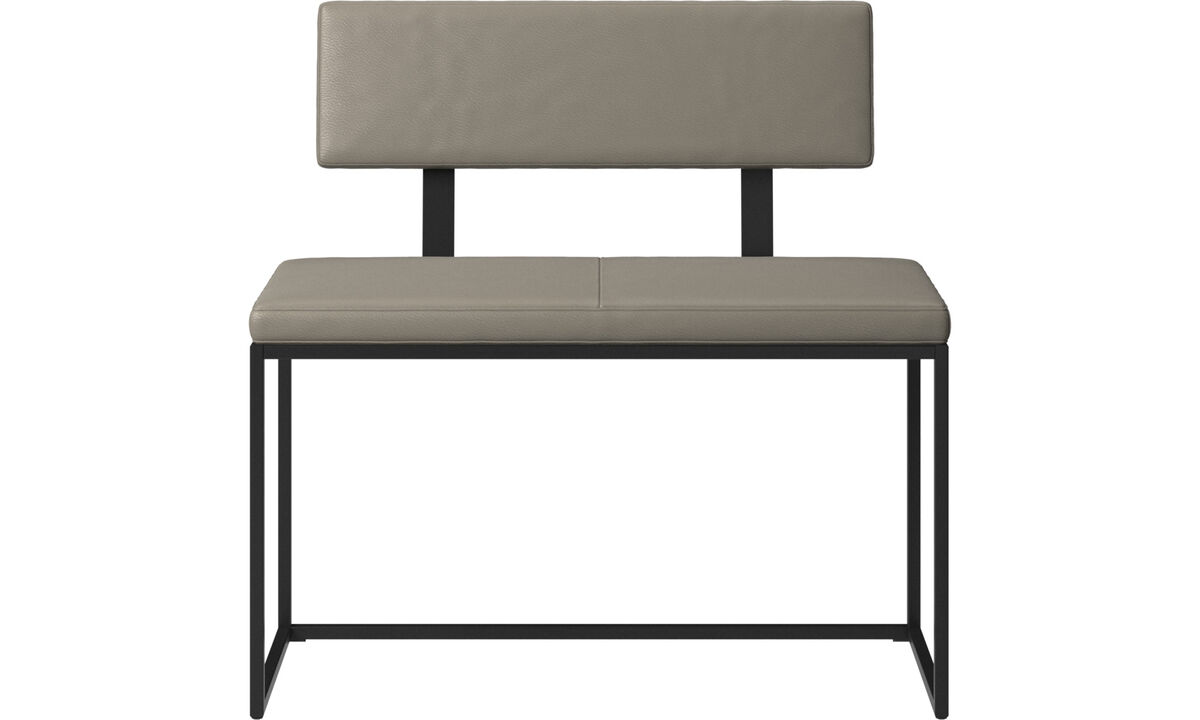 Benches - London small bench with cushion and backrest - Grey - Leather