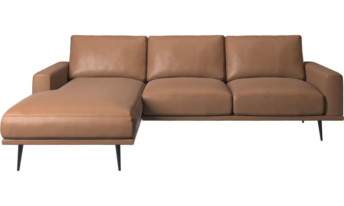 Sofás con chaise longue - sofá Carlton con módulo chaise-longue - En marrón - Piel