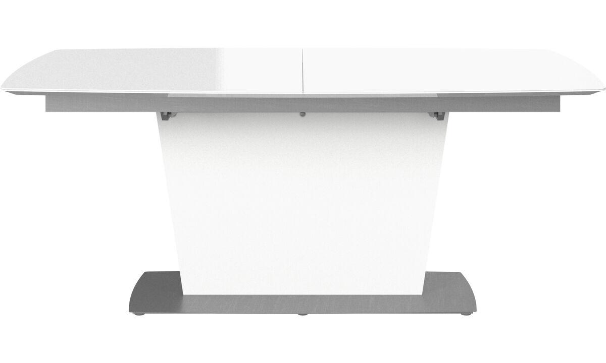 Mesas de comedor - Mesa extensible con tablero suplementario Milano - rectangular - Blanco - Cristal