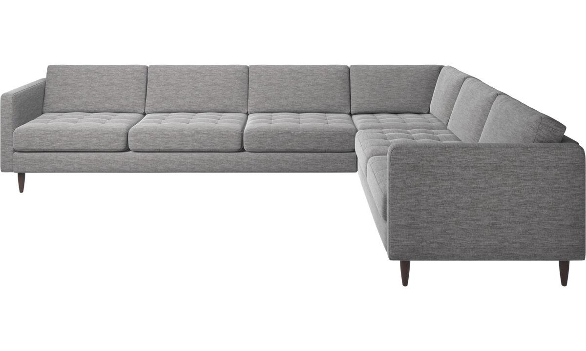 Sofás esquineros - sofá esquinero Osaka, asiento en capitoné - En gris - Tela