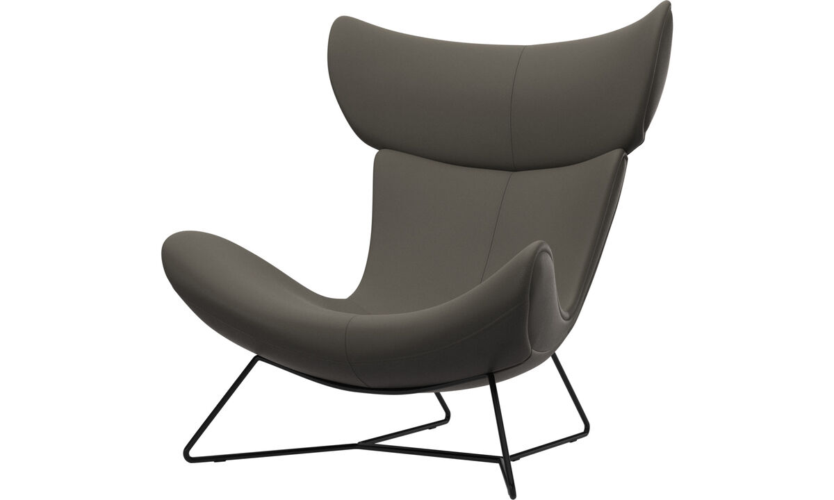 Armchairs - Imola chair - Grey - Leather