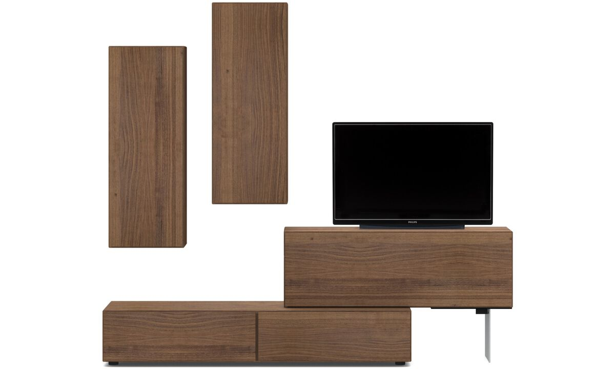 Wall systems - Lugano wall system with drop-down doors and drawer - Brown - Walnut
