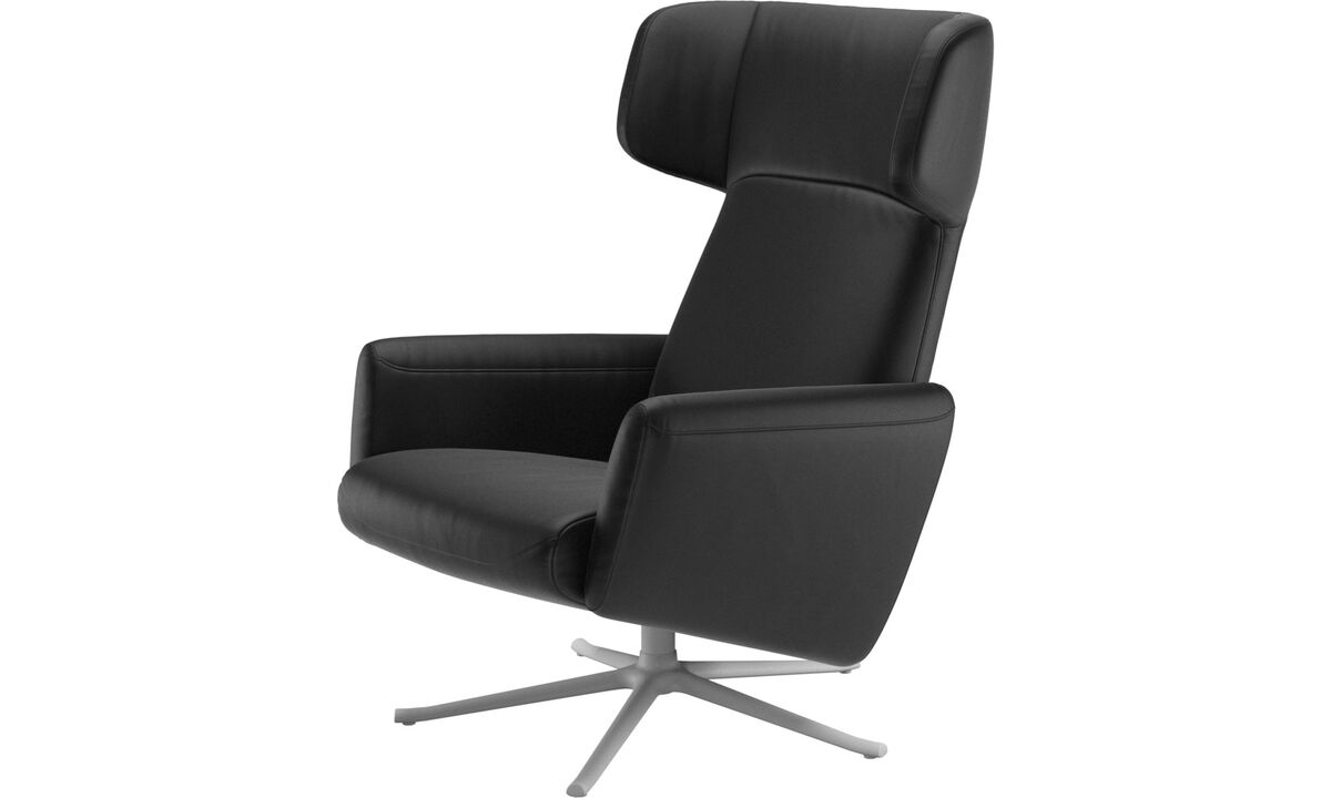 Armchairs - Lucca wing recliner with swivel function - Black - Leather