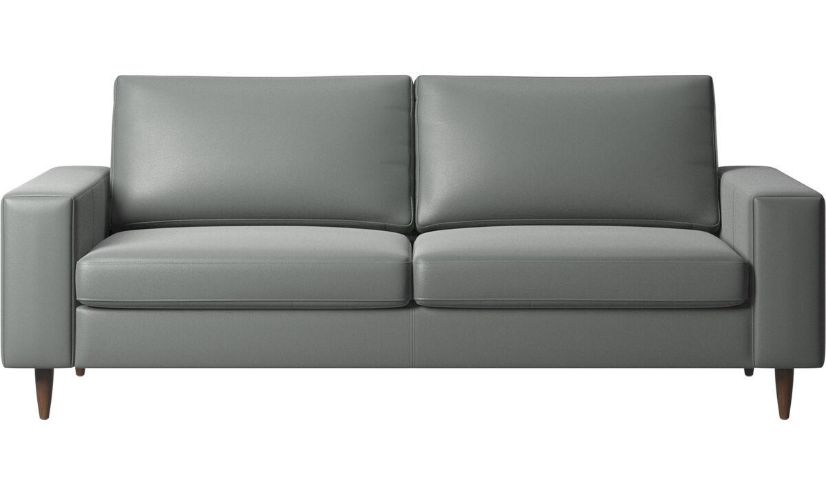 Sofás de 2 plazas y media - sofá Indivi - En gris - Piel