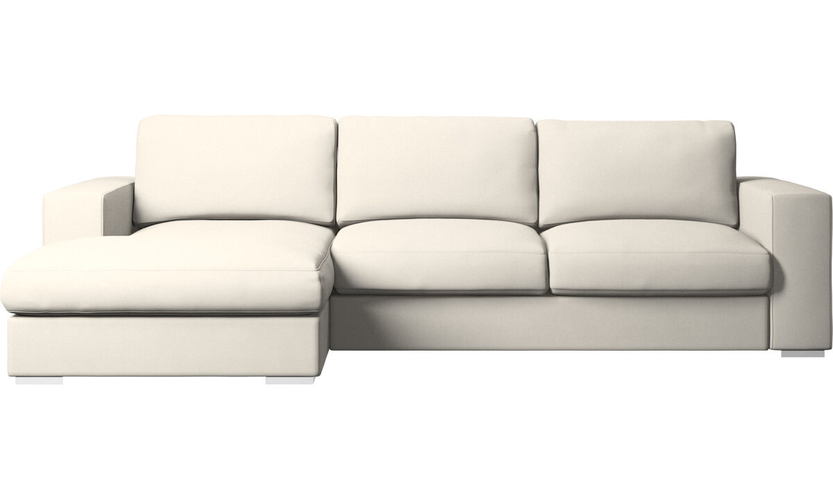 Chaise longue sofas - Cenova sofa with resting unit - White - Fabric
