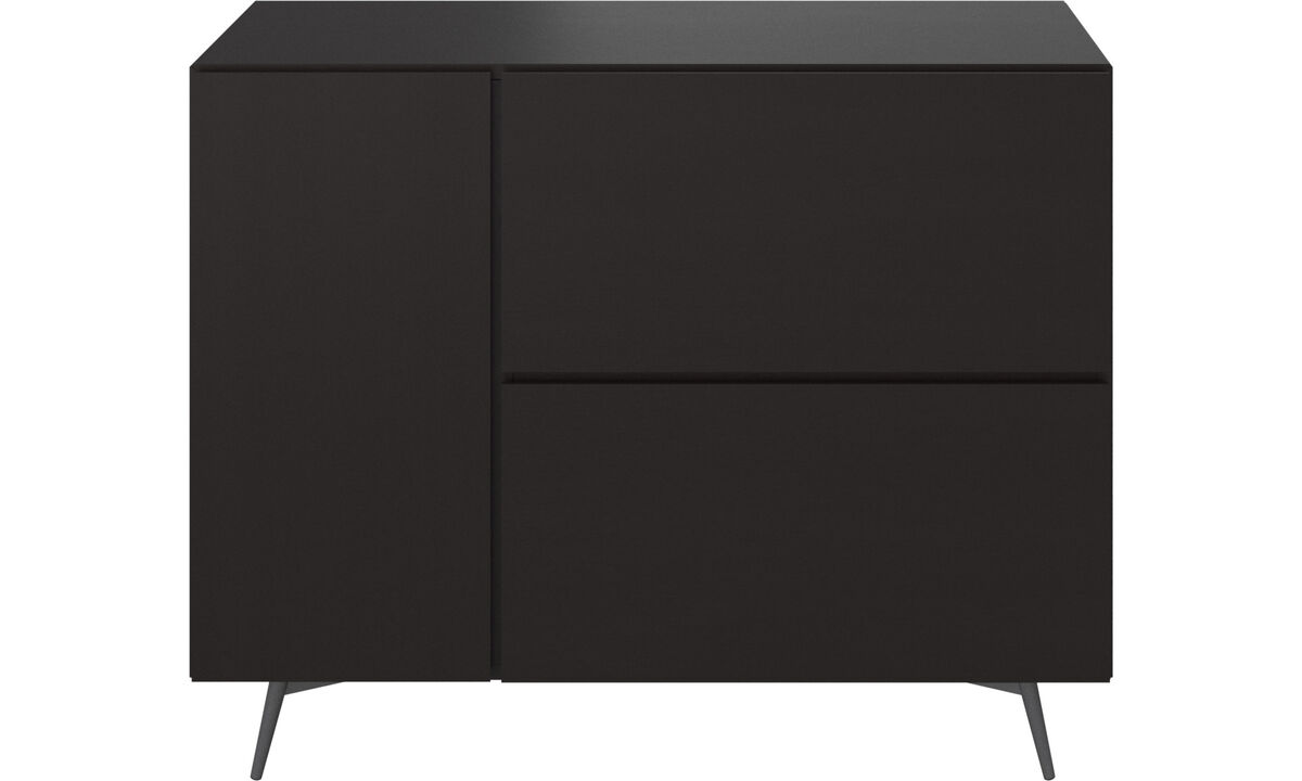 Sideboards - Lugano wall system with drawers - Black - Oak
