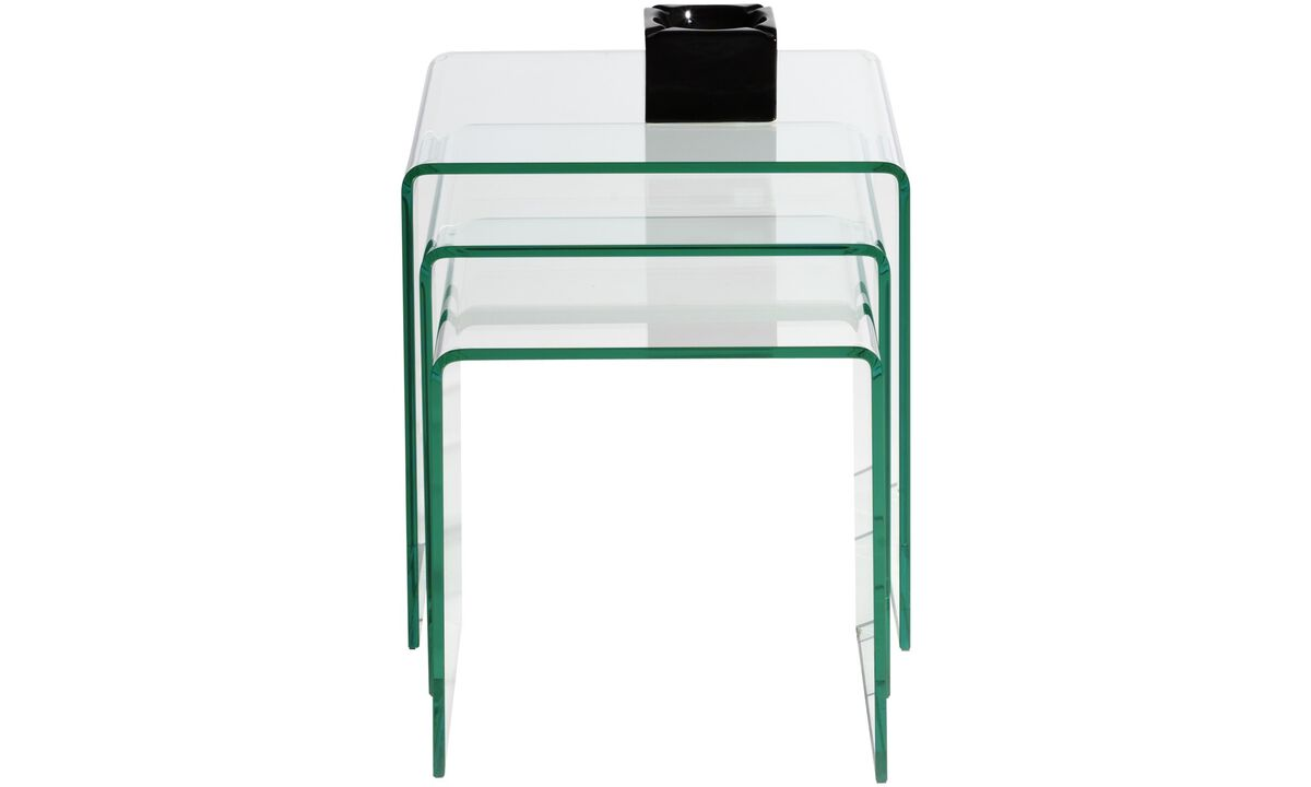 Coffee tables - set masute Adria - square - Transparenta - Sticla
