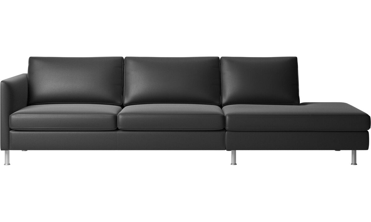 Sofas with open end - Indivi sofa with lounging unit - Black - Leather