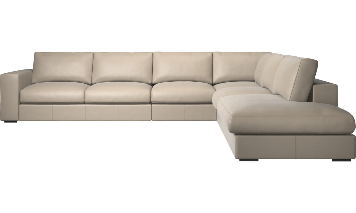 Corner sofas - Cenova corner sofa with lounging unit - Beige - Leather