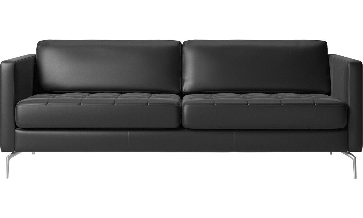 2½-sitzer Sofas - Osaka Sofa, getuftete Sitzfläche - Schwarz - Leder