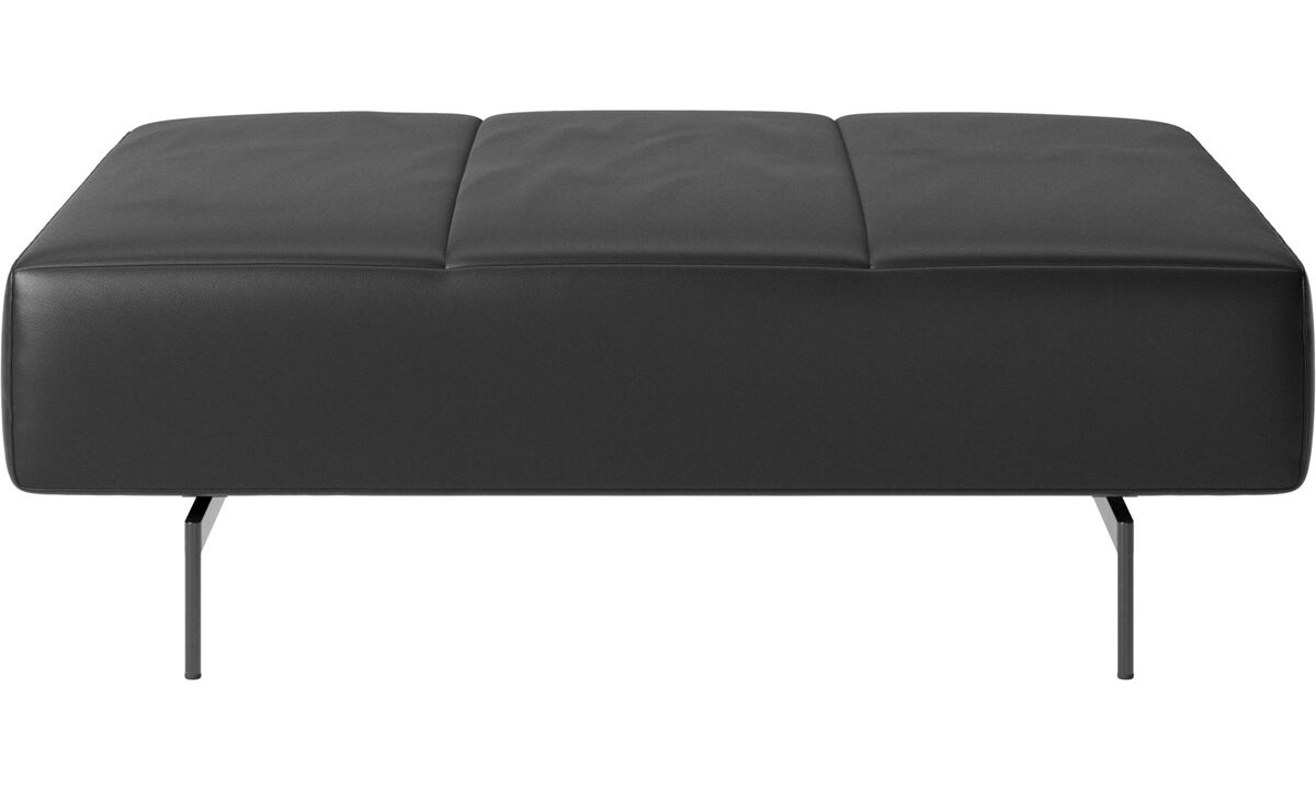 Ottomans - Amsterdam footstool - Black - Leather
