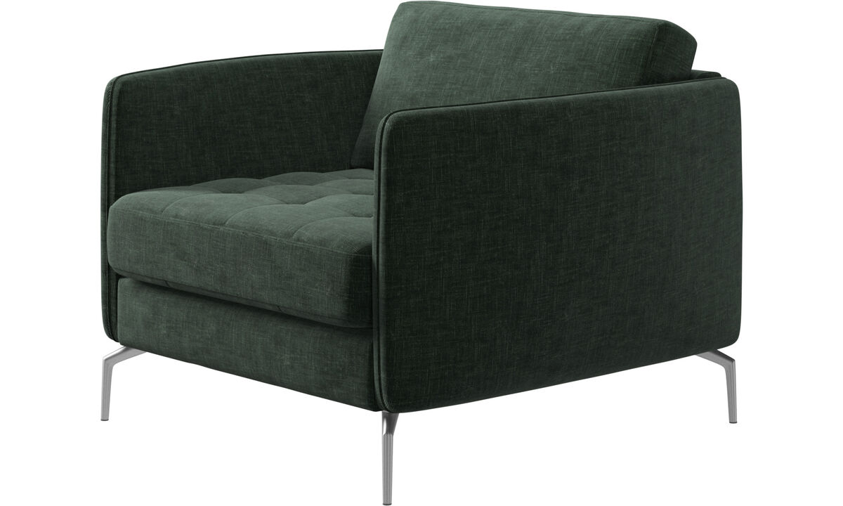 Armchairs - Osaka chair, tufted seat - Green - Fabric