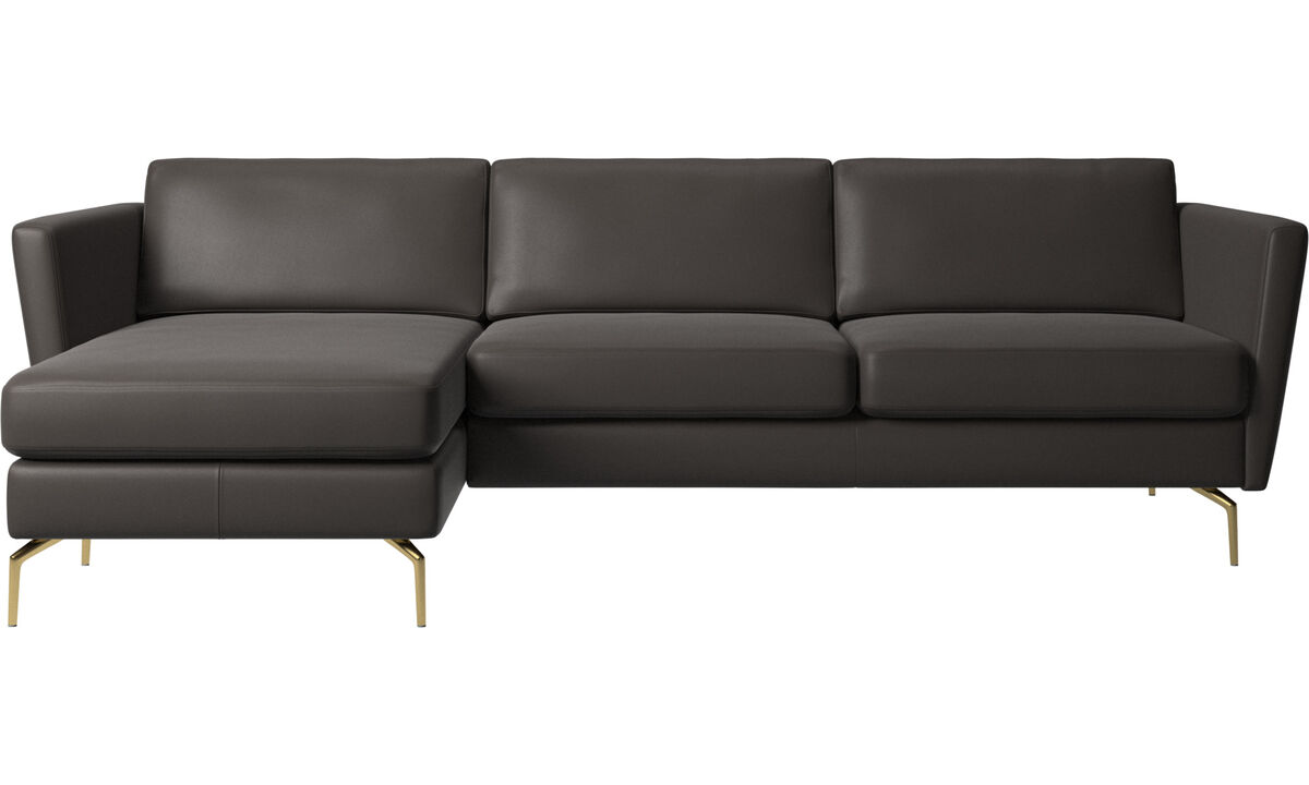 Chaise longue sofas - Osaka sofa with resting unit, regular seat - Brown - Leather