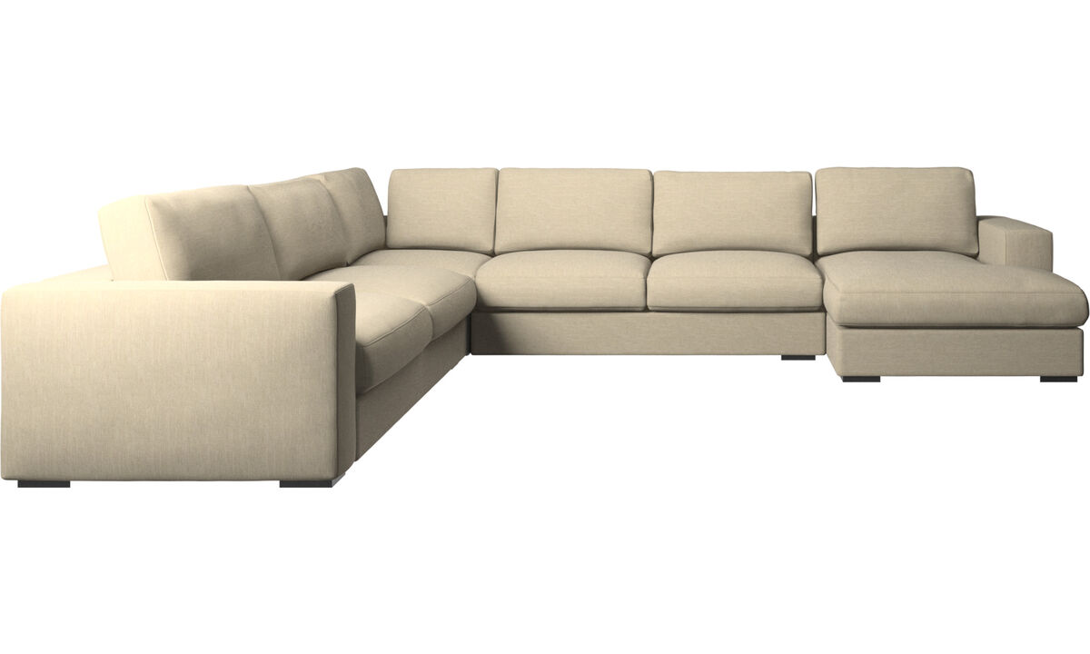 Corner sofas - Cenova corner sofa with resting unit - Brown - Fabric