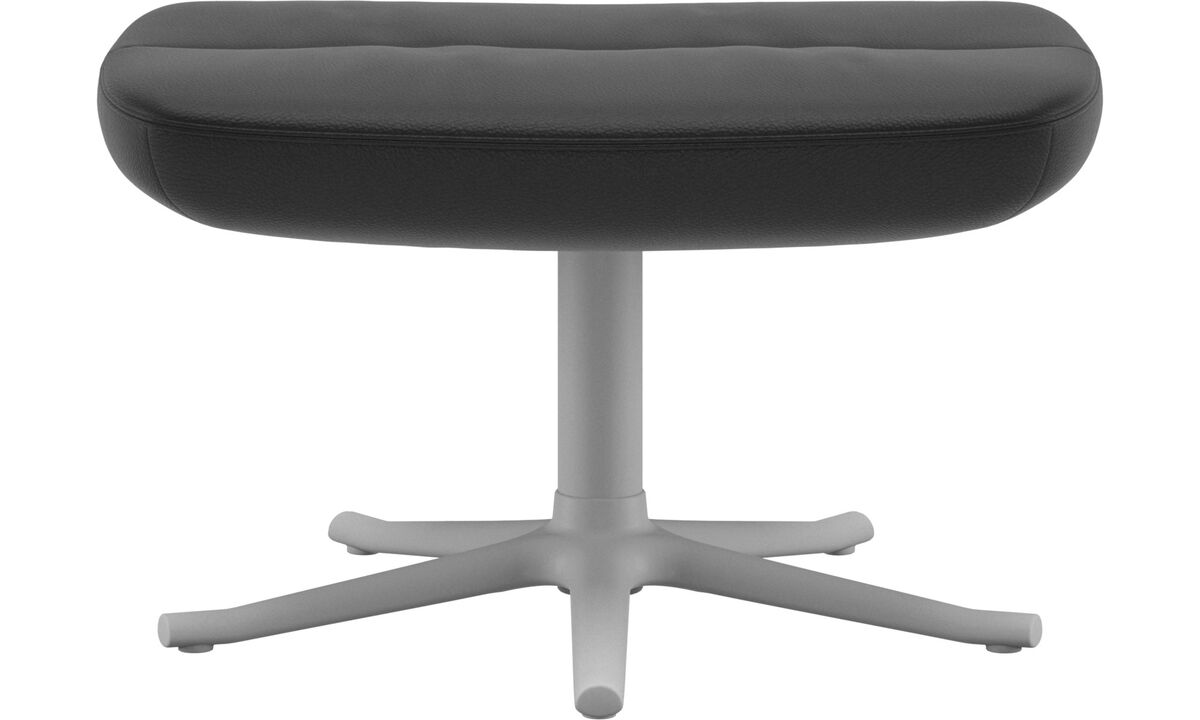 Footstools - Trento footstool - Black - Leather