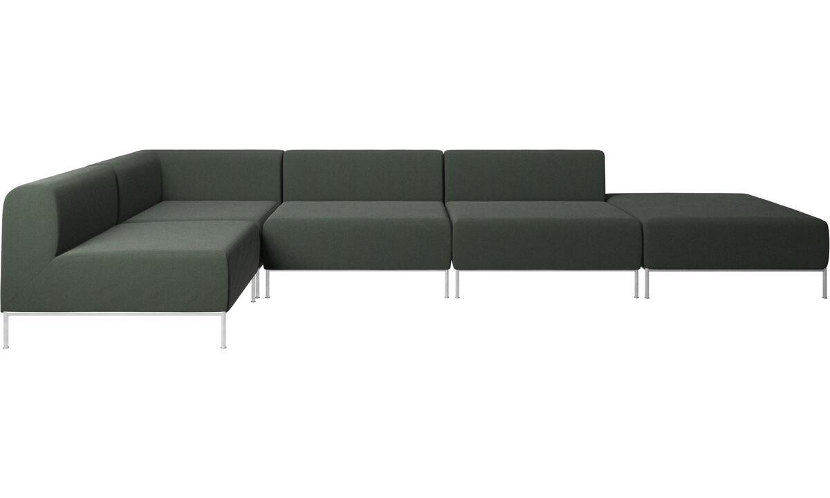 Sofás modulares - Sofá de canto Miami com puff no lado direito - Verde - Tecido