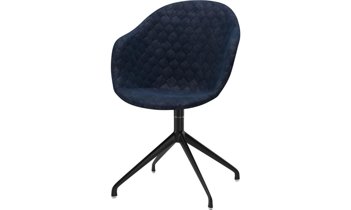Cadeiras de jantar - Cadeira Adelaide giratória - Azul - Tecido