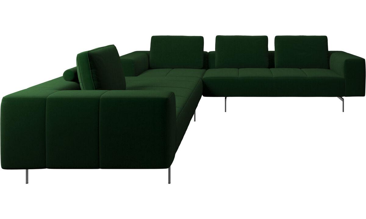Canapés d'angle - canapé d'angle Amsterdam - Vert - Tissu
