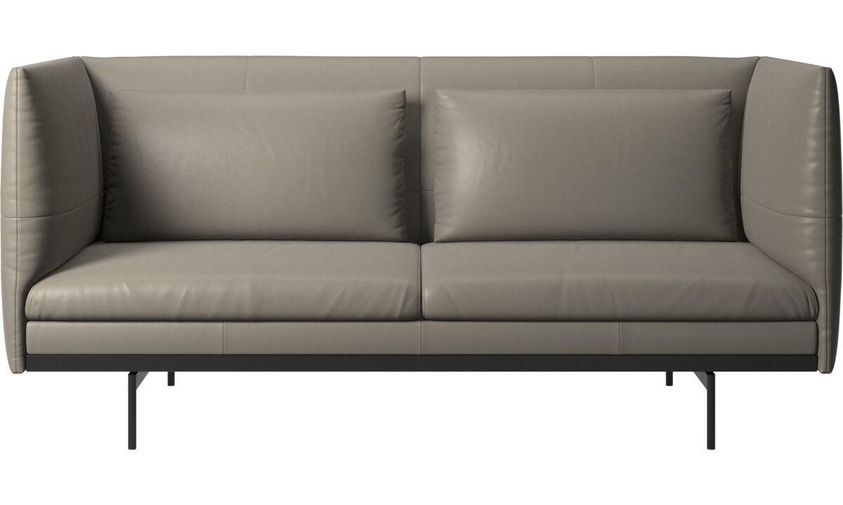 Sofás de 2 plazas - sofá Nantes con cojines - En gris - Piel