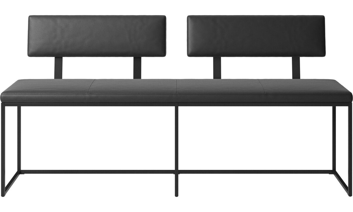 Benches - London large bench with cushion and backrest - Black - Leather
