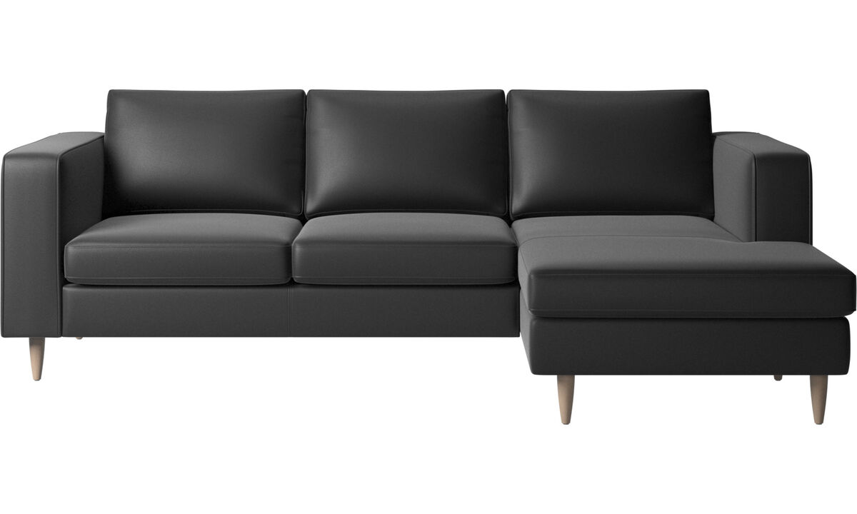 Chaise lounge sofas - Indivi 2 sofa with resting unit - Black - Leather