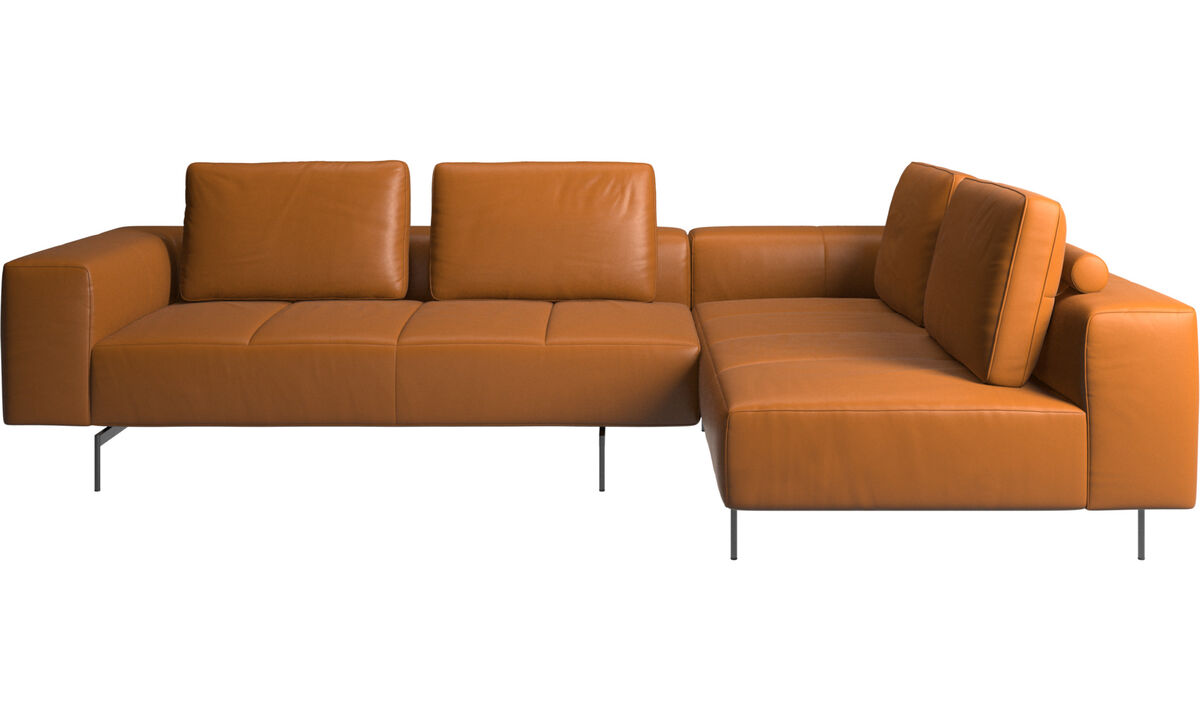 Modular sofas - Amsterdam corner sofa with lounging unit - Brown - Leather
