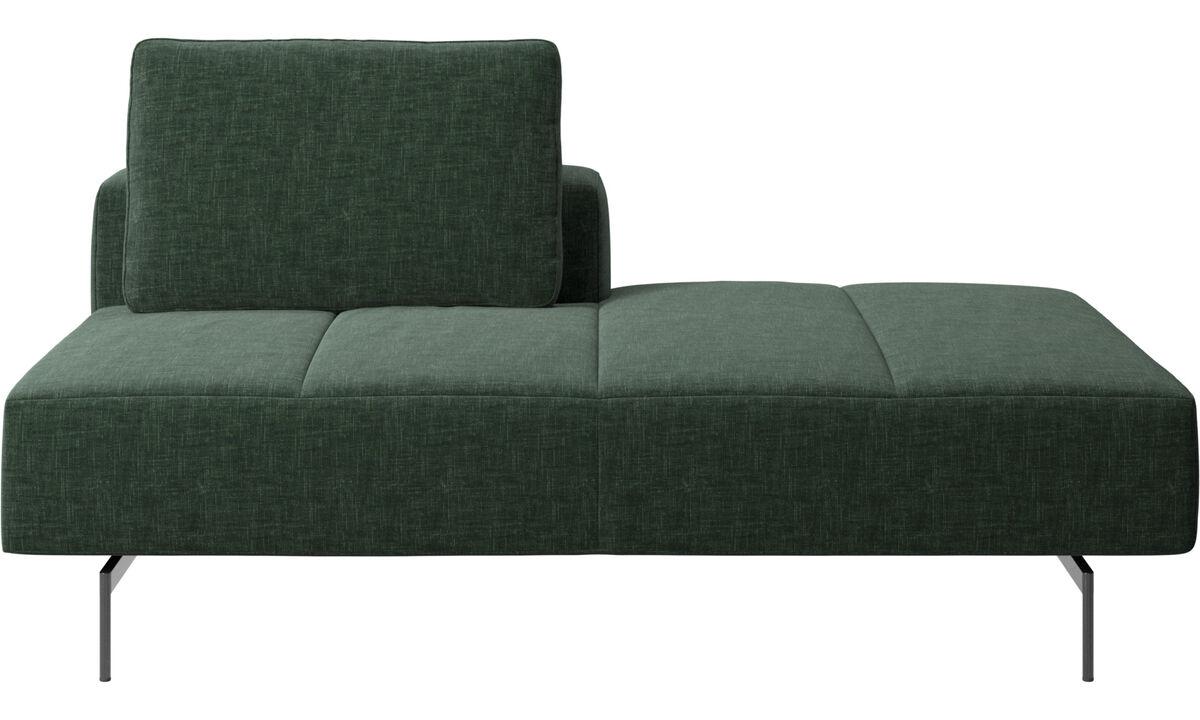Sofás com canto aberto - Módulo descanso para sofá Amsterdam, encosto esquerdo, extremidade direita - Verde - Tecido