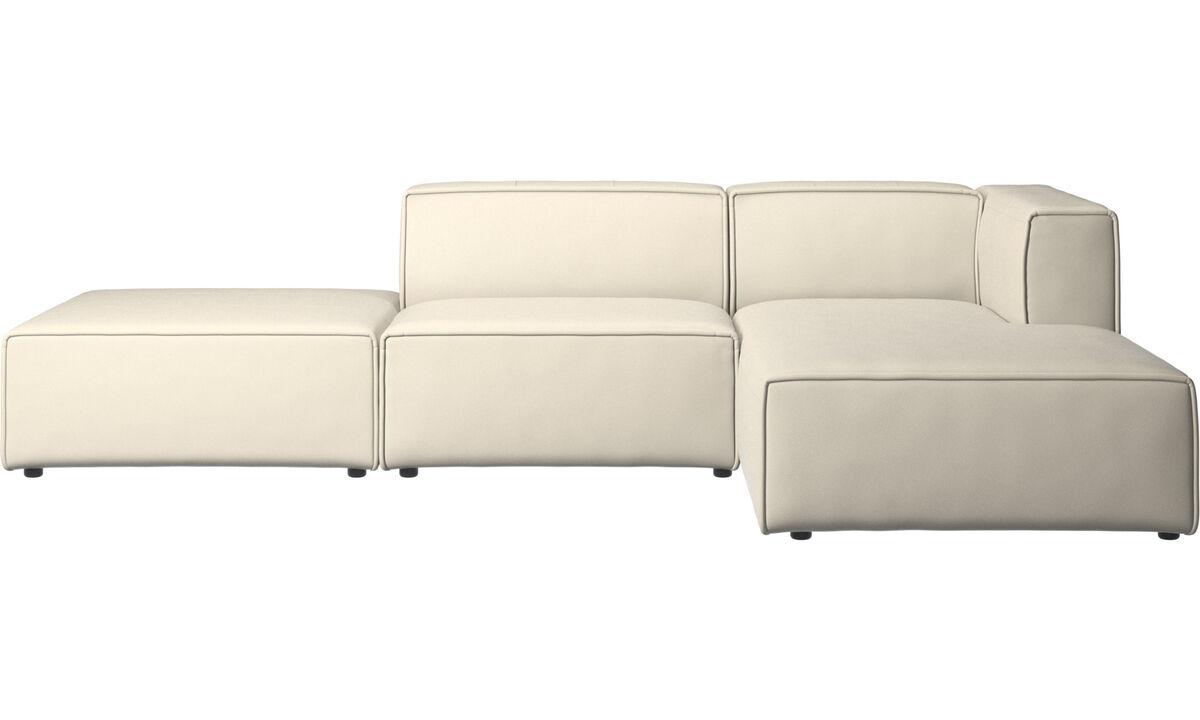 Sofás modulares - Sofá Carmo con módulo chaise-longue - Blanco - Piel