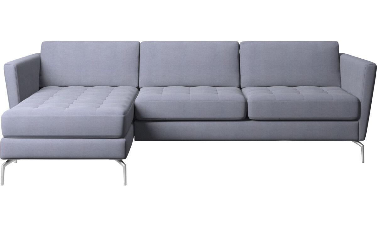 Sofás com chaise - Sofá Osaka com módulo chaise-longue, assento tufado - Azul - Tecido