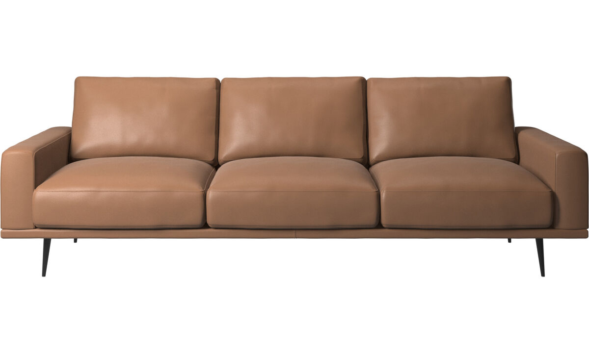 Sofás de 3 plazas - sofá Carlton - En marrón - Piel