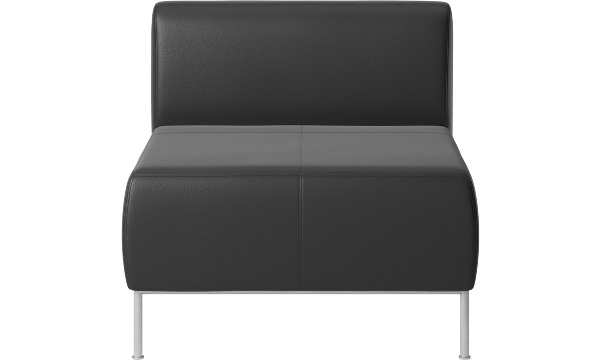 Armchairs - Miami seat with back - Black - Leather
