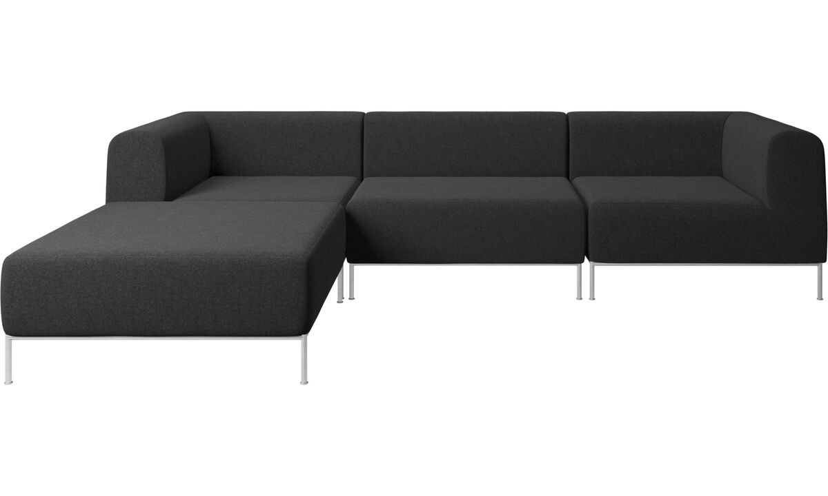 Modular sofas - Miami corner sofa with pouf on left side - Gray - Fabric