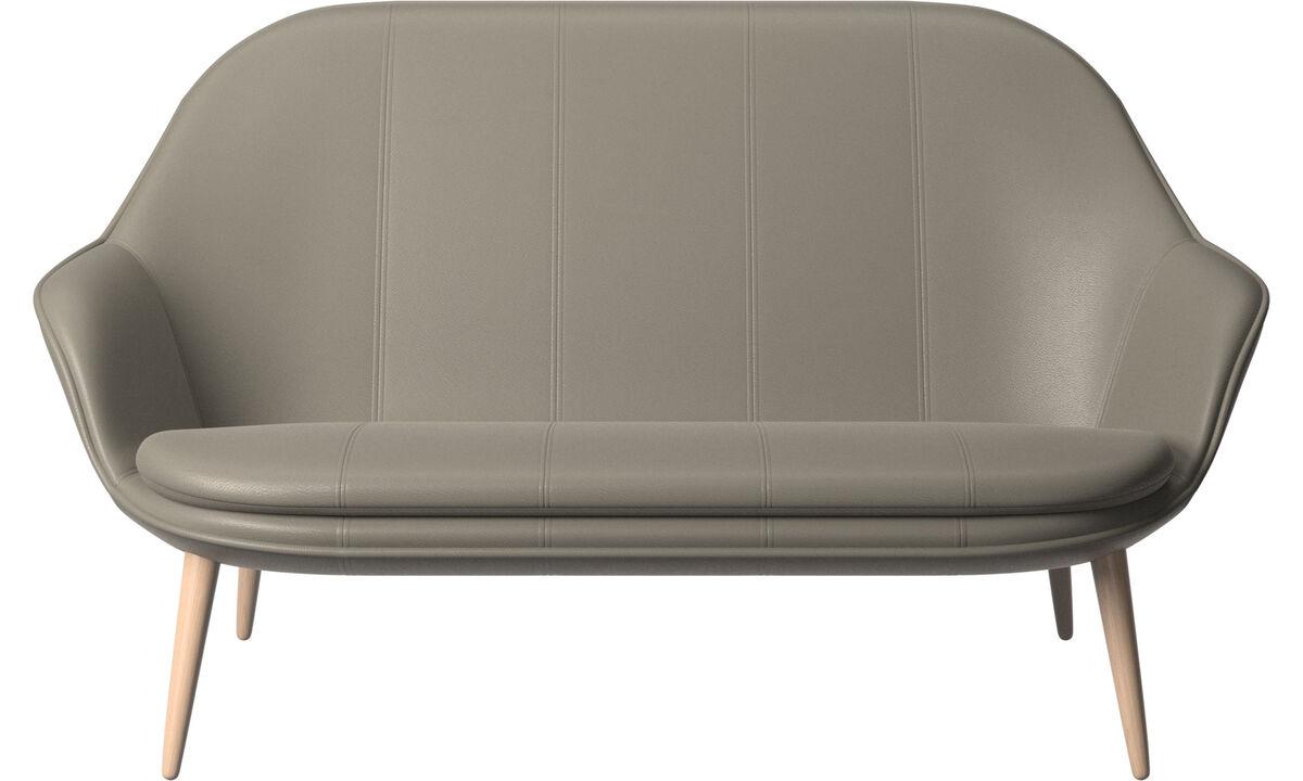 Sofás de 2 plazas - sofá Adelaide - En gris - Piel