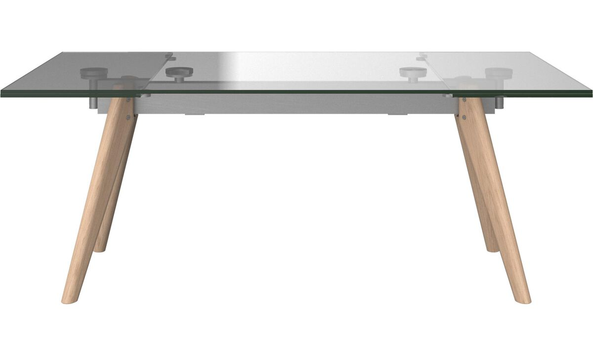 Dining tables monza table with supplementary tabletops for Table extensible verre et bois