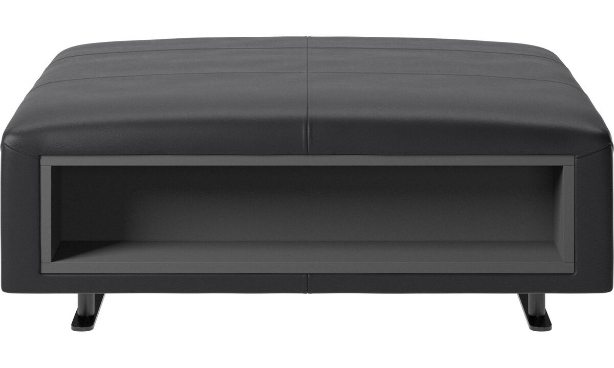 Footstools - Hampton footstool with storage left and right sides - Black - Leather