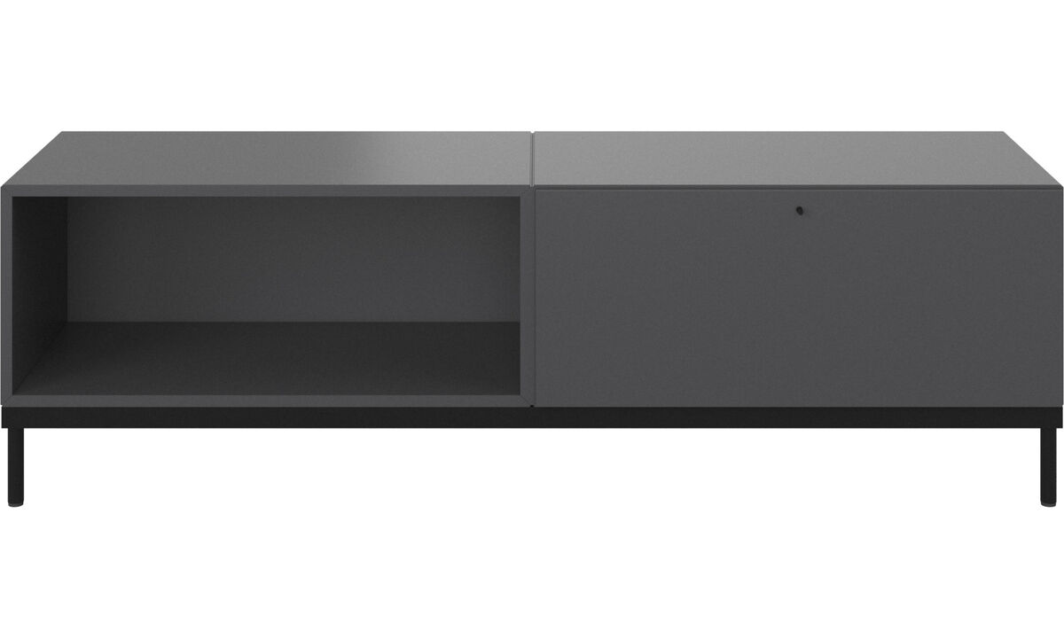 Wall systems - Atlanta base cabinet with drawer and bookcase - Grey - Lacquered