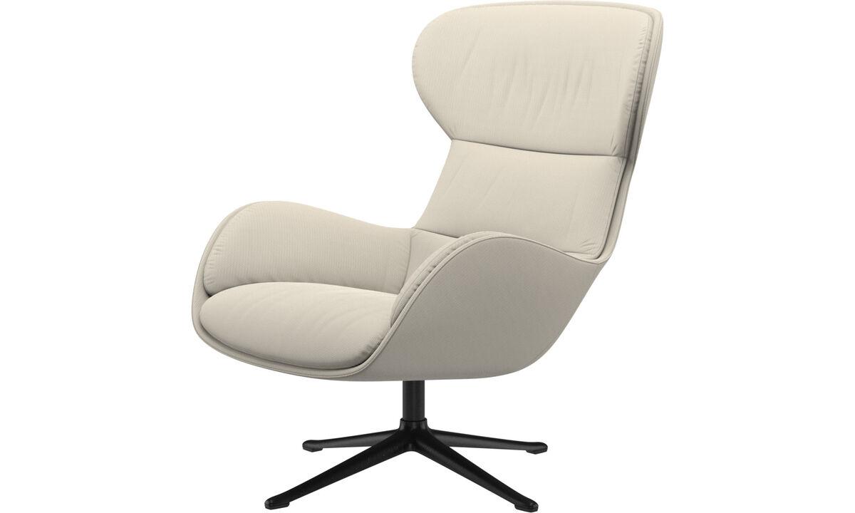 休闲椅 - 带旋转功能的Reno椅子 - 白色 - 布艺