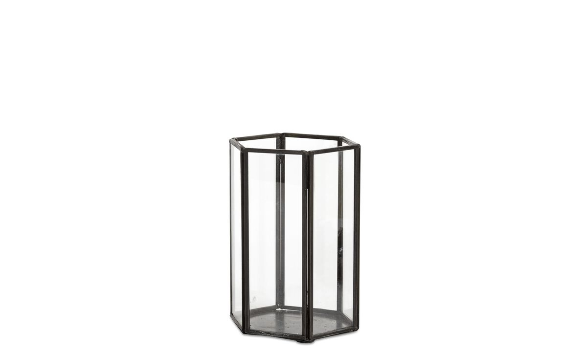 Candleholders - Hexagon lantern - Clear - Glass