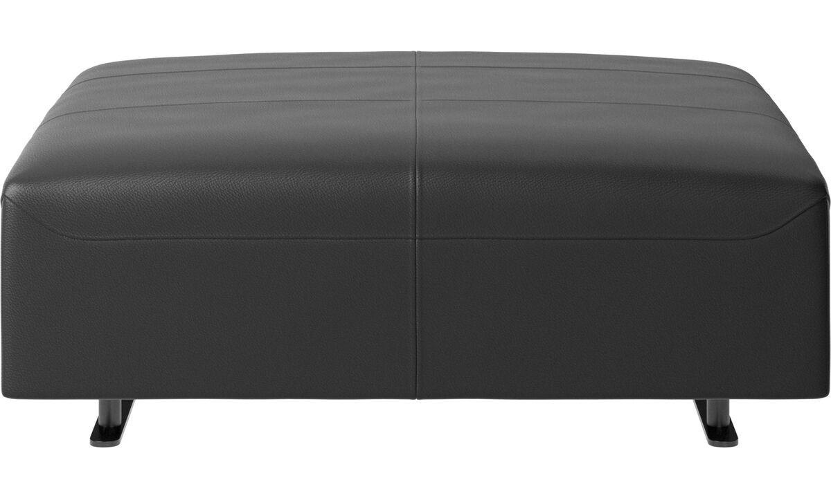 Footstools - Hampton pouf - Black - Leather
