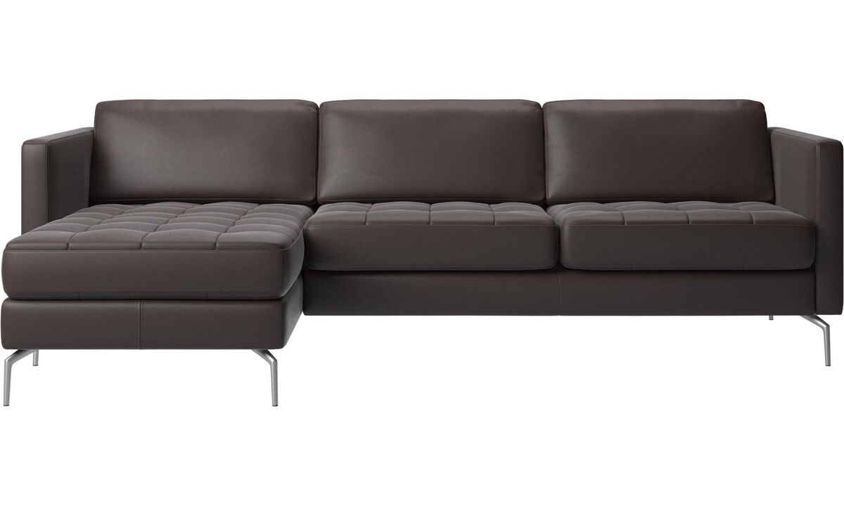Sofas - Osaka sofa with resting unit, tufted seat - Brown - Leather